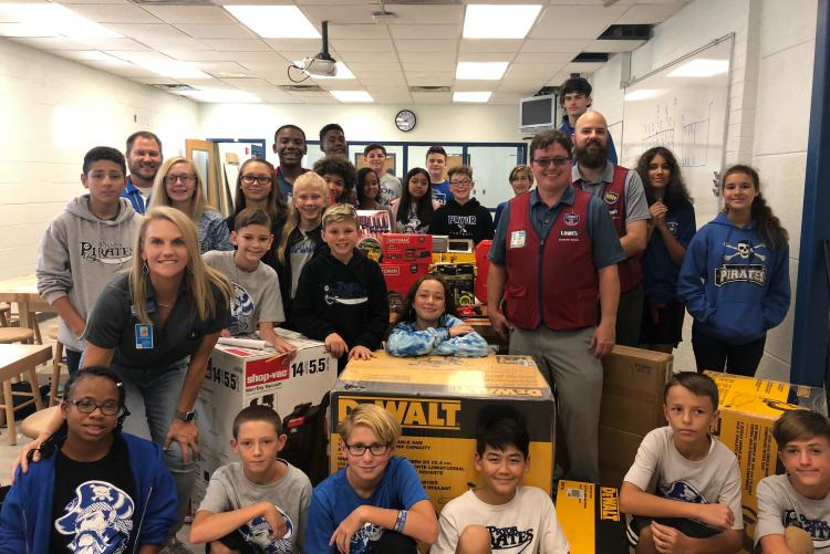 Lowe's of Fort Walton Beach Donates Carpentry Equipment to Pryor Middle School